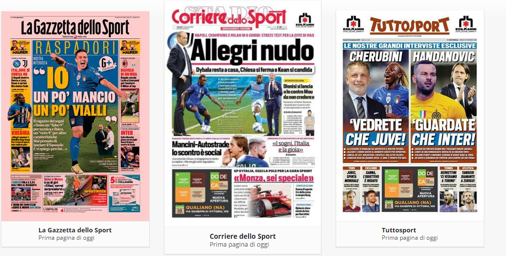 Prime Pagine Quotidiani Sportivi